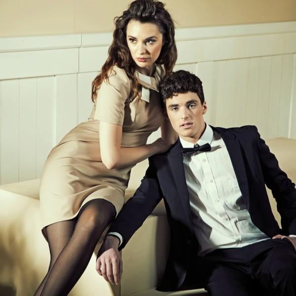 Sensual woman touching her handsome boyfriend